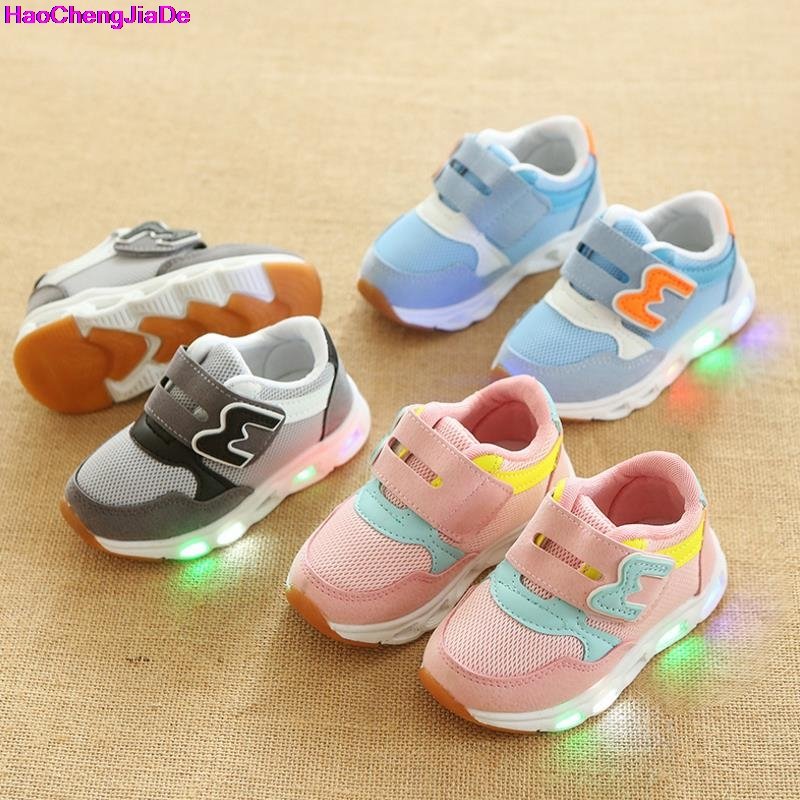 HaoChengJiaDe New Brand Children Glowing Sneakers Boys LED Light Shoes Girls Mesh Sports Flats Toddler Lighted Kids Casual Shoes new boys children luminous shoes sneakers with lighted led casual girls glowing sneakers kids shoes
