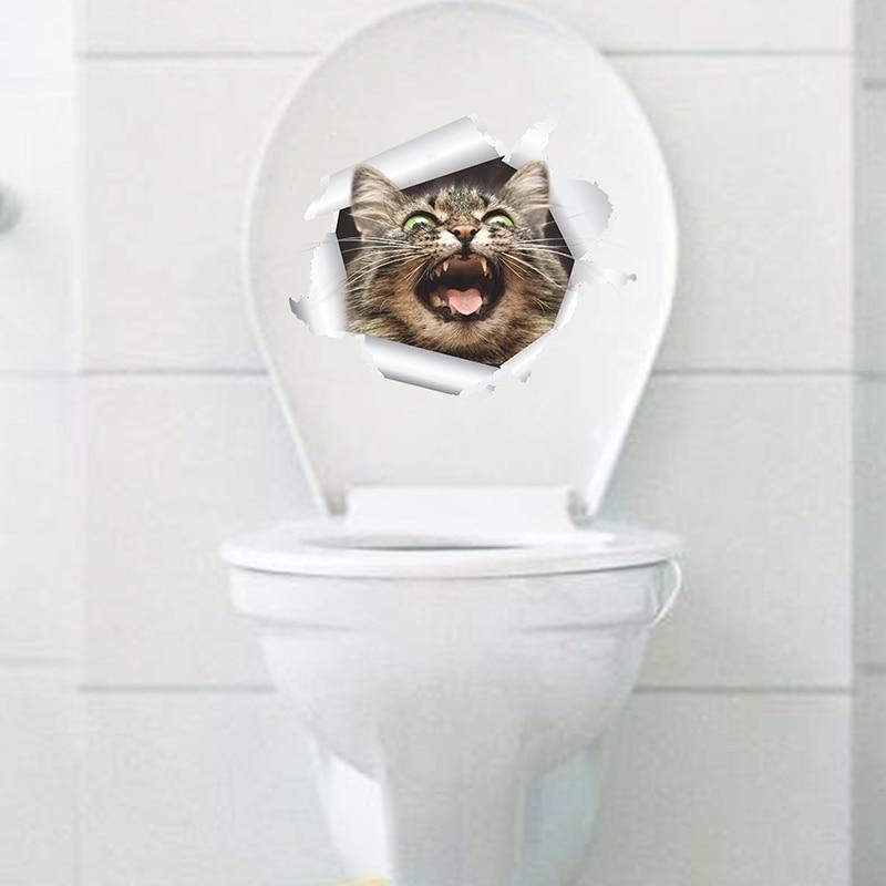 Cats Dog 3D Wall Sticker Bathroom Toilet Living Room Kitchen Decoration Animal Vinyl Art Sticker Poster 24