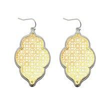 Двухцветные золотые филигранные марокканские серьги для женщин