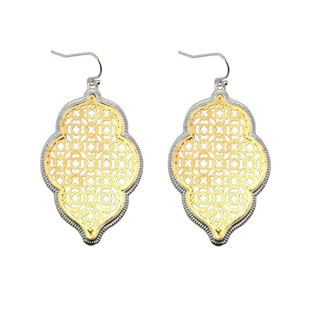 Két tónusú arany filigrán marokkói fülbevaló női divat lóhere ékszerek szív nyilatkozat fülbevaló arany kiegészítők nagykereskedelme