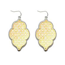 Two Tone Gold Filigree Moroccan Earrings for Women Fashion Clover Jewelry Heart Statement Earrings Gold Accessories Wholesale
