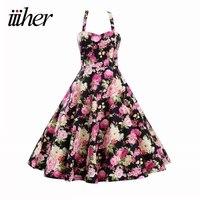 Sexy Vintage Dress Rockabilly Audrey Hepburn Casual Party Robe 50s Vestidos Big Swing Halter Retro Rockabilly