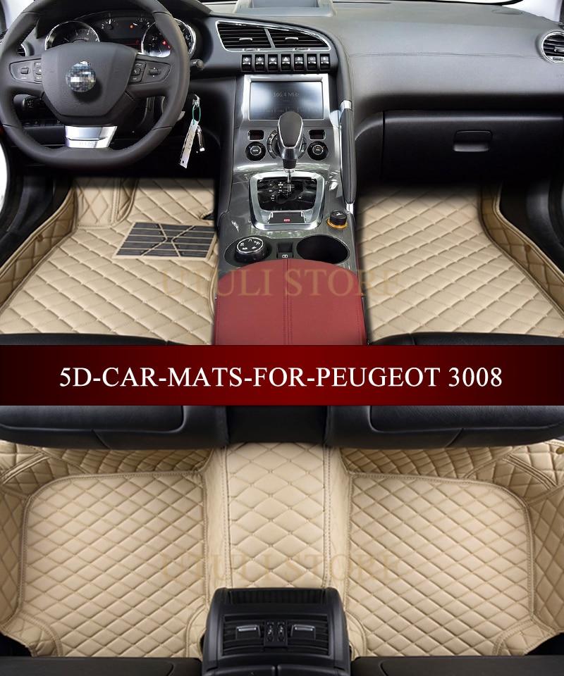 tapis de sol de voiture en cuir pour peugeot 3008 4008 5008 suv interieur de voiture personnalise tous temps