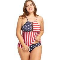 CHARMMA Plus Size American Flag Tankini Set Vintage Bikini Beach Wear Bathing Suits Women Swim Suit