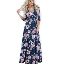 купить Long Boho Dress 2019 Floral Print Sexy V-Neck Hippie Summer Dresses Chic Beach Women Dress Bohemia Blue Wrap Dresses Plus Size онлайн