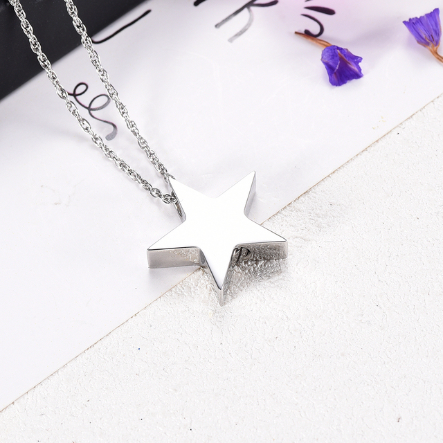 CMJ8453  Beautiful Pure Star  Pendant  PVD Plated Stainless Steel Memorial Necklace Cremation Jewlery for Loved One