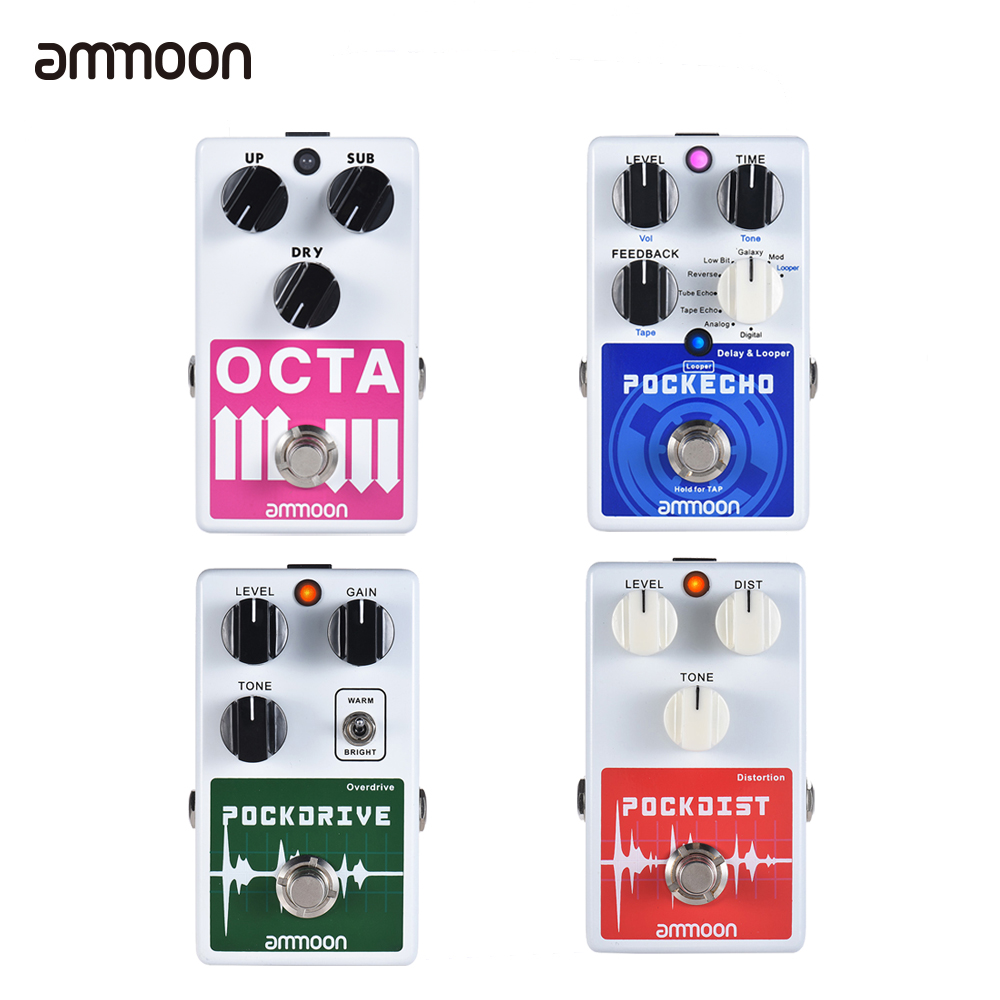 ammoon guitar effect pedal 5 effects guitar pedal distortion loop delay effect guitar parts. Black Bedroom Furniture Sets. Home Design Ideas