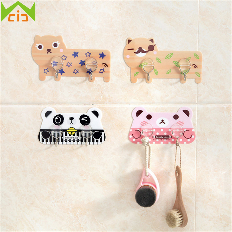 WCIC Cute Cartoon Sticky Hook Kitchen Organizer Door Key Hanger Bathroom Hanging Hook Seamless Self Adhesive Strong Paste Hooks