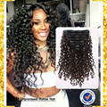 7A African American Clip in Human Hair Extensions Brazilian Virgin Hair 8pieces/set Extensions Deep Wave Clip in Hair Extensions