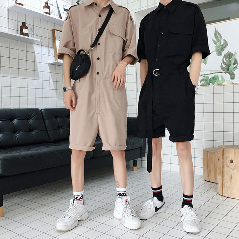 Aismz Fashion Jumpsuit Mens Rompers High Street Shorts Jumpsuit Male Handsome Baggy Overalls Palysuit Cargo tracksuit men