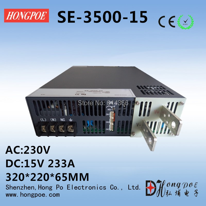 3500W 15V 233A DC 0-15v power supply 15V 233A AC-DC High-Power PSU 0-5V analog signal control SE-3500-15 3500w 30v 116a dc 0 30v power supply 30v 116a ac dc high power psu 0 5v analog signal control se 3500 30