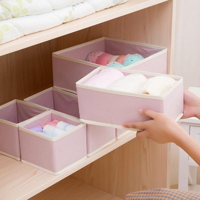 6 Piece Set Household Storage Box Foldable Non woven fabric Underwear Socks Bra Tie Closet Organizer Drawer Box|Drawer Organizers| |  - title=