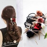 Korean pop hair head ornaments Cloth flower section bowknot pearl lotus root hair bands hair rope headdress flower
