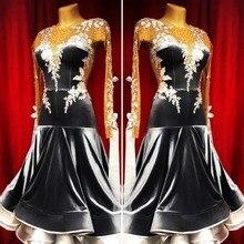 Платье для бальных танцев для соревнований, платье для бальных танцев с открытой спиной, стандартный костюм для танцев, モダダダンン, цвет черный