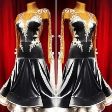 Nieuwe Concurrentie Ballroom Dans Jurk Backless Ballroom Danswedstrijd Jurk Standaard Dans Kostuum モダンダンスドレス Kleur Zwart