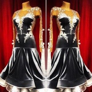 Image 1 - Nuovo concorso sala da ballo vestito da ballo backless sala da ballo standard vestito da ballo della concorrenza costume di ballo モダンダンスドレス colore nero