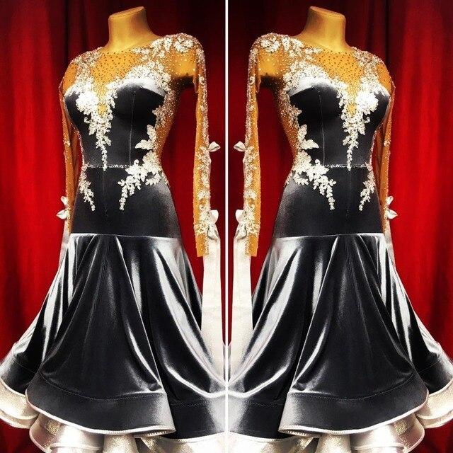Nuovo concorso sala da ballo vestito da ballo backless sala da ballo standard vestito da ballo della concorrenza costume di ballo モダンダンスドレス colore nero