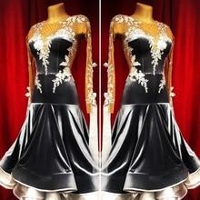 Yeni rekabet balo salonu dans elbise backless balo salonu dans yarışması elbise standart dans kostümü モダンダンスドレス renk siyah