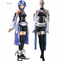 Ainclu Customize for adults Free Shipping Kingdom Hearts Birth By Sleep Aqua Cosplay Costume Include Prop Costume Accessory