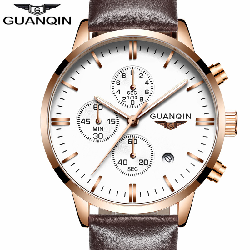 New GUANQIN Mens Watches Top Brand Luxury Relogio Masculino Military Sport Luminous Wristwatch Chronograph Leather Quartz Watch mens watches top brand luxury jedir quartz watch chronograph luminous clock men military sport wristwatch relogio masculino