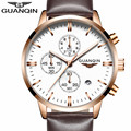 New GUANQIN Mens Watches Top Brand Luxury Relogio Masculino Military Sport Luminous Wristwatch Chronograph Leather Quartz Watch