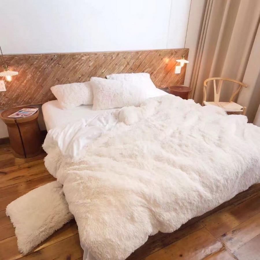 Super Weiche Lange Shaggy Fuzzy Pelz Faux Pelz Warme Elegante Gemütliche Mit Flauschigen Sherpa Decke