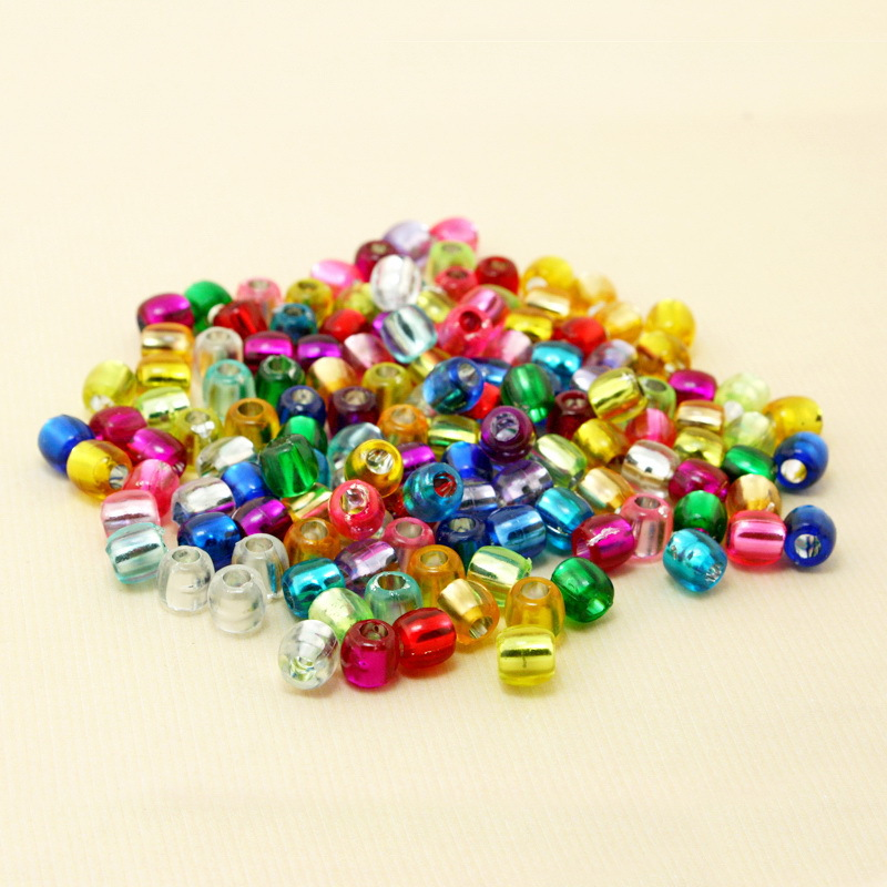 100pcs 7*7mm Candy Mixed Color Round Loose Beads DIY Intelligence Toys For Kids