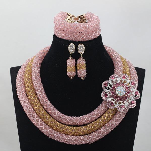 Pink/Champagne 3 offers Beads Wedding Necklace Jewelry Set Trendy Costume African Nigerian Crystal Beads Bridal Jewelry Set AMJ005