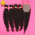 7a Brazilian Deep Curly Hair Deep Wave With a Silk Closure Brazilian Hair 5pcs lot Brazilian Deep Wave Virgin Hair Brazilian