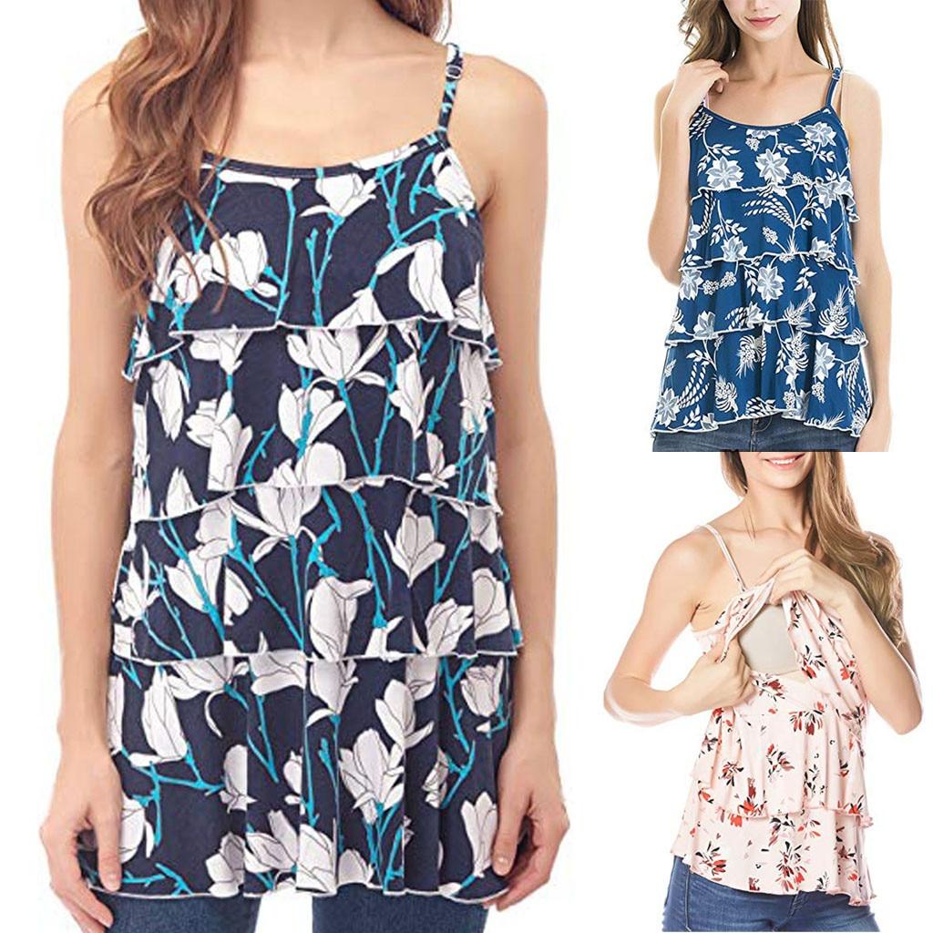 76989f6169c MUQGEW T Shirt for Women Pregnancy Sleeveless Tops Pregnant Women Floral  Print Breastfeeding Nusring Feme Maternity Clothes