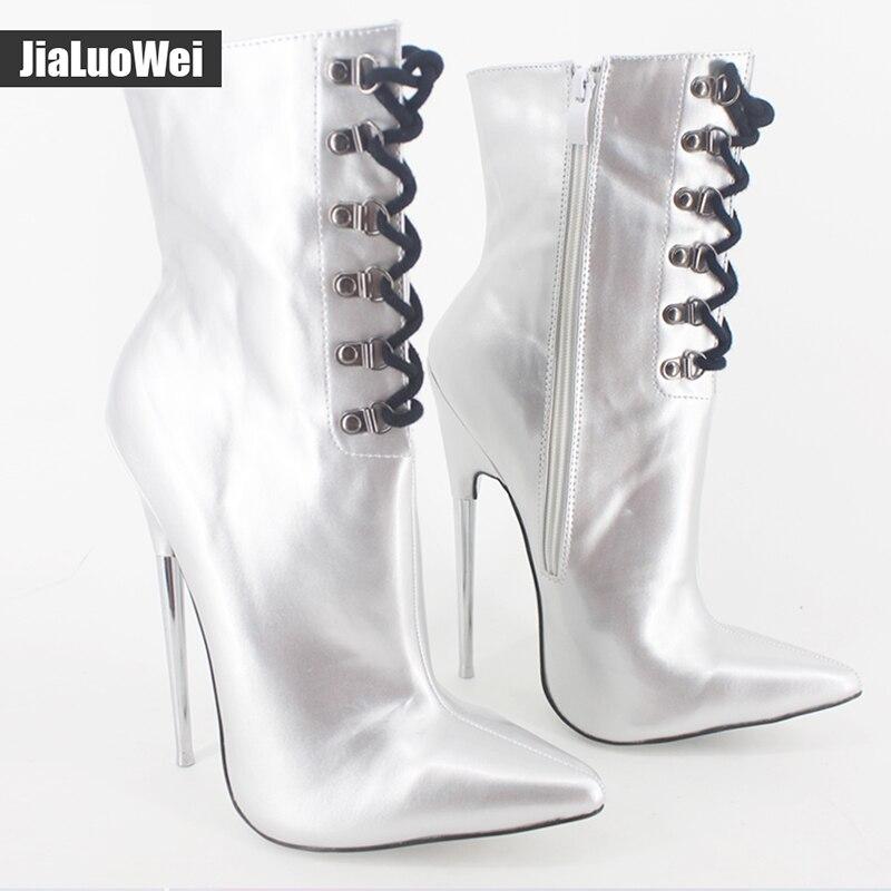 7 Extreme high heel mode stiefeletten Metall dünne Heels Lace up unisex fetisch sexy Spitz PU leder frauen martin schuhe - 2