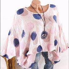 Womens Blouse 2019 new big shirt casual dot print bat sleeve ladies size plus 5xl