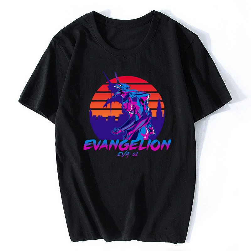 Neon Genesis Evangelion   T     Shirt   ATTACK ANGEL EVA 01 02 Anime Japan Vaporwave   T  -  shirt   Short Sleeve Harajuku Streetwear Tshirt