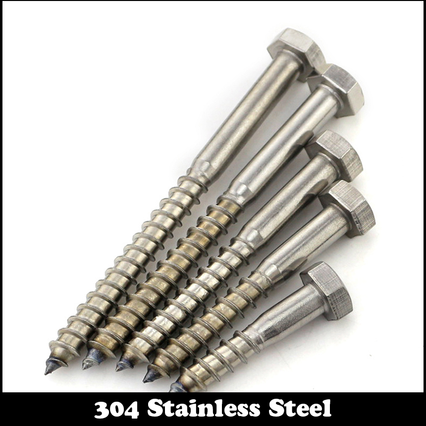 M8 M8*50/55/60/70/80 M8x50/55/60/70/80 DIN571 304 Stainless Steel ss Hexagon Hex Half Thread Bolt Wood Self Tapping Coach Screw