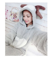 Flannel Small Deer Cartoon Conjoined Pajamas Unisex Set Sleepsuit Pyjamas Kigurum Halloween Onesie Costume Sleepwear Jumpsuits