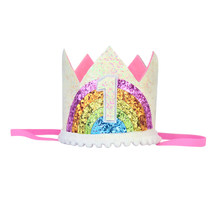 Rainbow Birthday Crown 1st Hat First Princess One Year Old Glitter