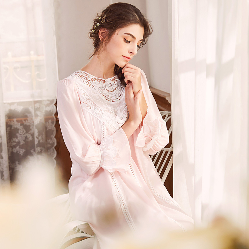 Long Sleeve Cotton Nightgowns Women Sleepwear Long Nightgown with Lace Hallow-out Vintage Nightgowns Night Dress Women