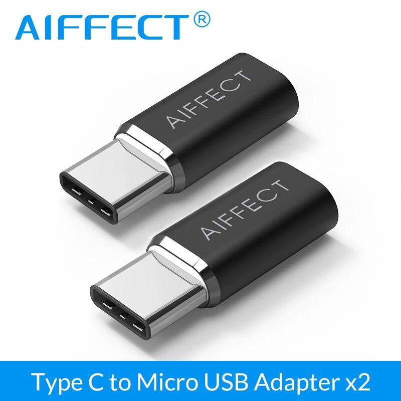 Convertisseur adaptateur Type C vers Micro USB AIFFECT 2 pièces, convertisseur type-c vers Micro B pour appareils Samsung Xiaomi LG Micro B Type C