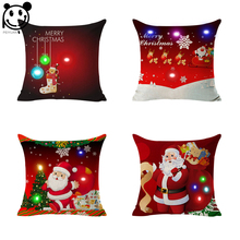 PEIYUAN Merry Christmas LED Light Up Glowing Santa Claus Red Cushion Cover Super Soft for Sofa Chair pillow Case