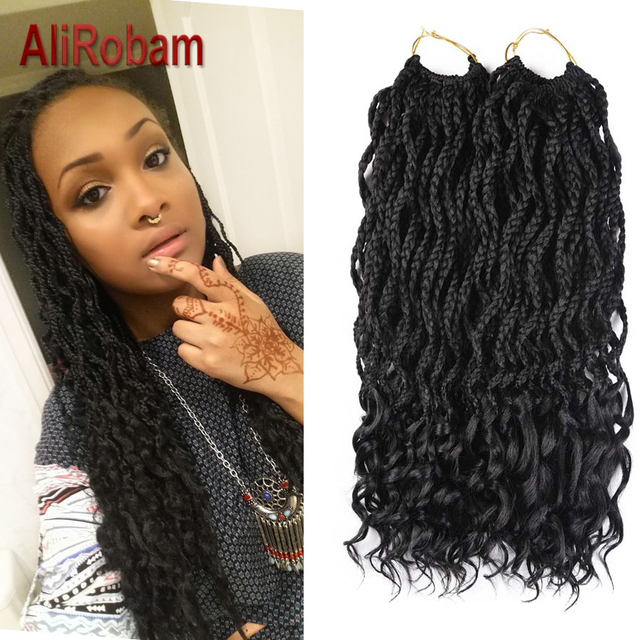 Alirobam Curly Crochet Box Braids Synthetic Hair 24roots 18inch Pure