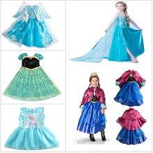 Горячая Распродажа, платье принцессы для девочек vestidos Infantis Congelados, платье Анны и Эльзы, вечерние платья со стразами