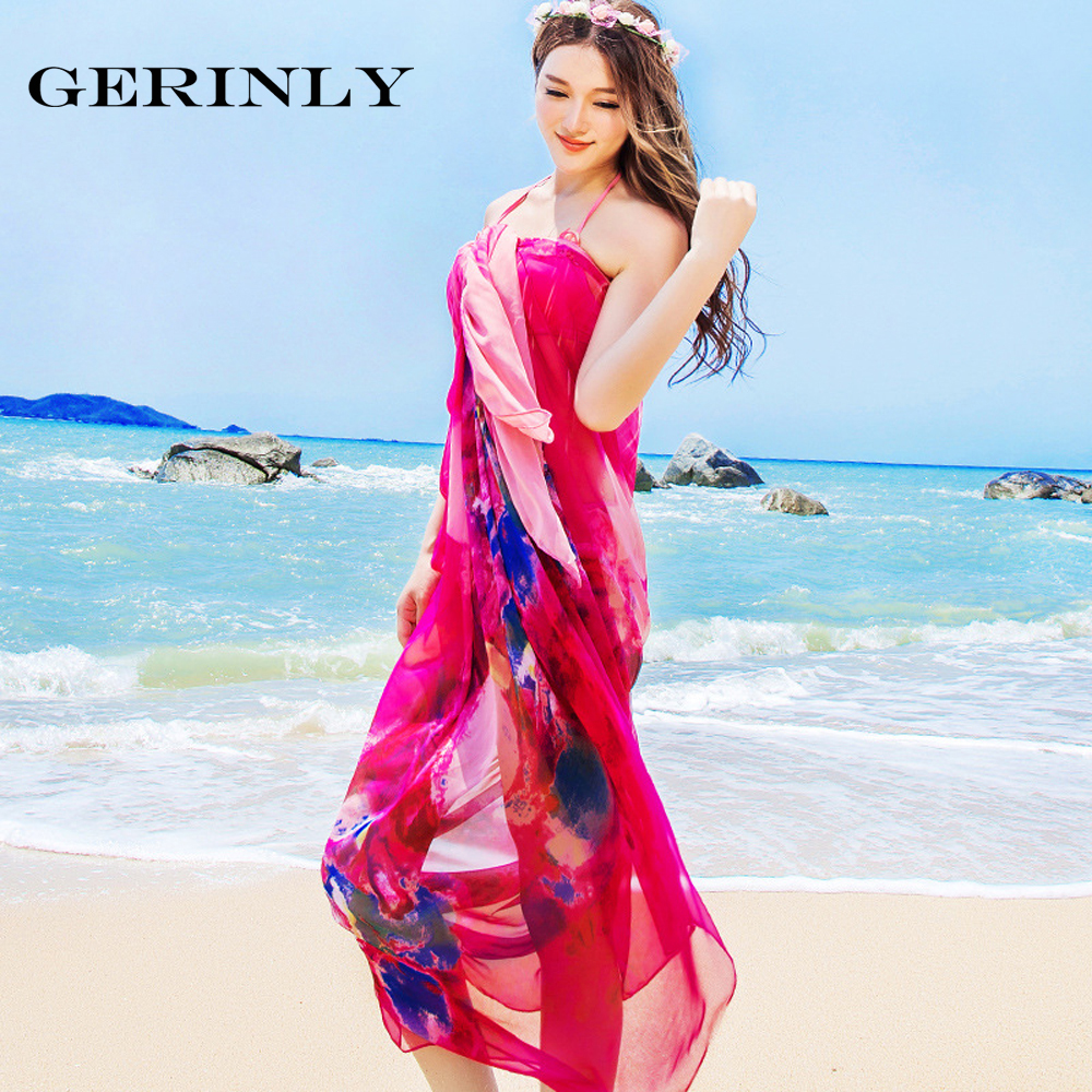 a21d82b6b1 GERINLY 140*190cm Chiffon Sarong Scarf Summer Popular Design Large Size  Sheer Woman Shawl Scarves Bikini Cover Up Hawaiian Dress-in Women's Scarves  from ...