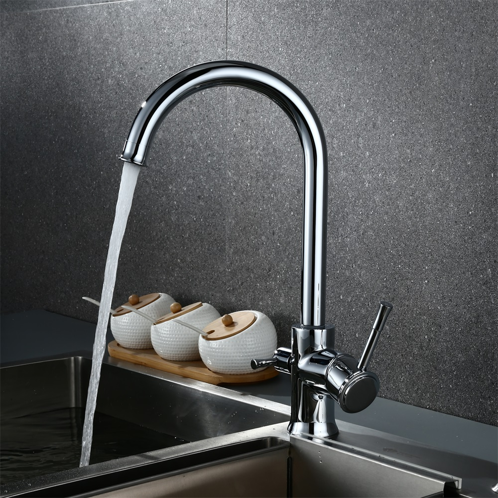Chrome Kitchen Faucets 360 Degree Rotation 3 Way Water Filter Tap ...