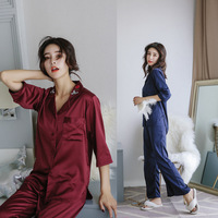 2017 New Women S Pajamas Sets Sleepwear Sexy Satin Pajama Set Black Lace V Neck Pyjamas