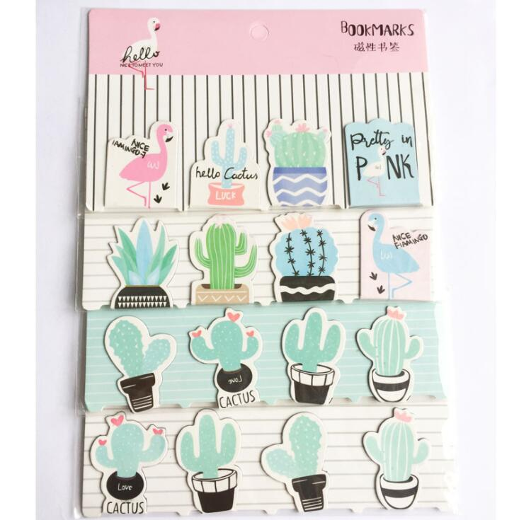 4 pcs/pack Cactus Plants Flamingo Magnet Bookmark Paper Clip School Office Supply Escolar Papelaria Gift Stationery a pack of summer fresh plants paper bookmark 30 pieces different design great gift