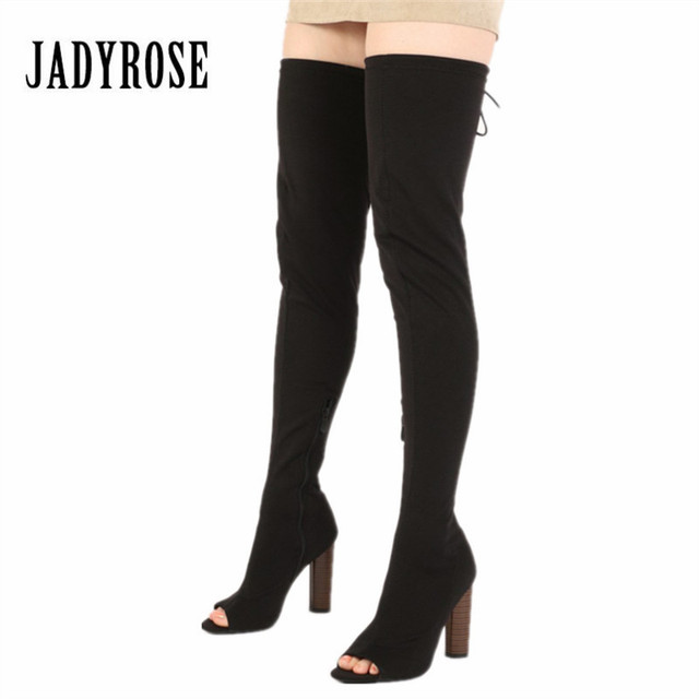 a03e7e2a78b Jady Rose Sexy Black Stretch Fabric Peep Toe Women Thigh High Boots Chunky  High Heel Over The Knee Boots Slim Fit Sock Boot