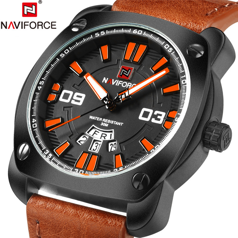 Relogio NAVIFORCE Men Watch Sport Mens Watches Top Brand Luxury Military Army Business Leather Band Quartz Male Clock New 2018 цена и фото