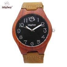IBigboy Hombres Relojes De Madera Padauk Madera Natural Negro 12 Horas Luminoso Analógico de Cuarzo Reloj de pulsera de Cuero Genuino Para Los Hombres como Regalo