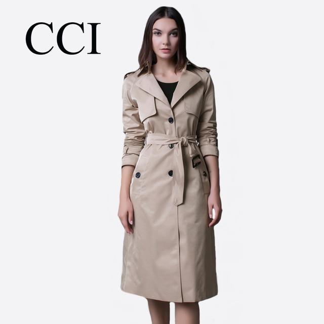 f529c3537eb4 CCI Women Trench Coat Long Thin Casaco Feminino Casual Pockets Manteau  Femme Trenchcoat Beige Black Overcoat