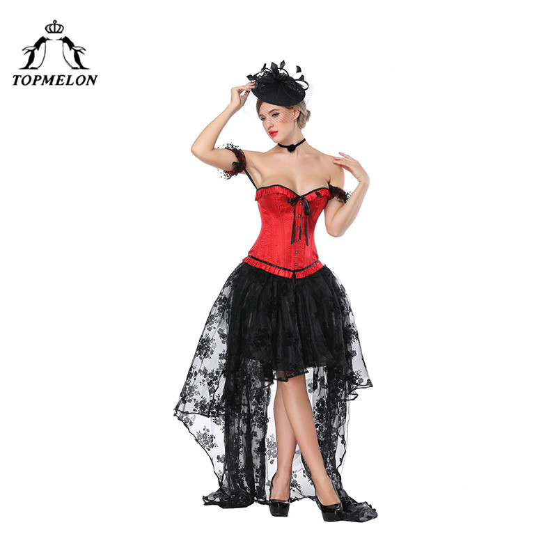 TOPMELON Victorian Skirt with Red Corset Long Floral Lace Skirts & Slimming Sleeveless Bustier Set Elastic Tutu Skirts for Women